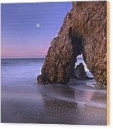 Sea Arch And Full Moon Over El Matador Wood Print by Tim Fitzharris