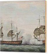 Sea Battle Wood Print