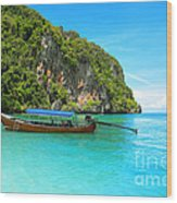 Sea Beautiful And Mountains Wood Print by Boon Mee