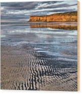 Sea Coal Saltburn Sunset Wood Print