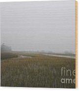 Wando River Sea Fog Wood Print