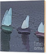 Sea Glass Flotilla Wood Print