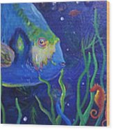 Sea Horse And Blue Fish Wood Print
