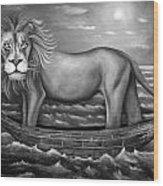 Sea Lion In Bw Wood Print