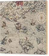 Sea Map By Olaus Magnus Wood Print