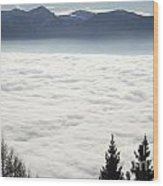 Sea Of Fog And Alps Wood Print