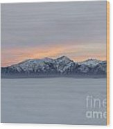 Sea Of Fog And Snow-capped Mountain In Sunset Wood Print