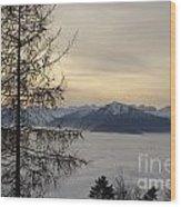 Sea Of Fog In Sunset Wood Print
