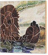 Sea Otter Two Wood Print