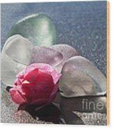 Sea Rose Wood Print by Barbara McMahon