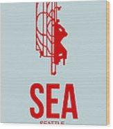 Sea Seattle Airport Poster 1 Wood Print by Naxart Studio