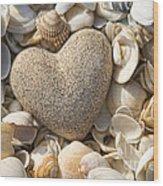 sea shell Heart Wood Print