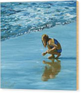 Sea Shell Seeker Wood Print
