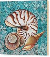 Sea Shells Original Coastal Painting Colorful Nautilus Art By Megan Duncanson Wood Print by Megan Duncanson