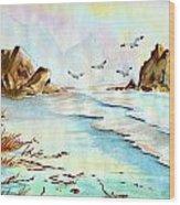 Sea Shore Impressions Wood Print