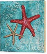 Sea Shore Original Coastal Painting Colorful Starfish Art By Megan Duncanson Wood Print