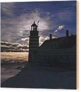 Sea Smoke At West Quoddy Head Lighthouse Wood Print