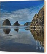 Sea Stack Blues Wood Print by Adam Jewell