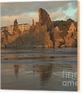 Sea Stacks And The City Wood Print