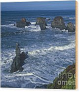 Sea Stacks Central Coast Near Rockport California Wood Print