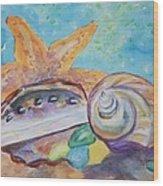 Sea Star-abalone-snail Shell Wood Print