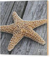 Sea Star On Deck Wood Print