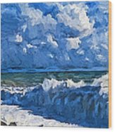 Sea Storm Coming Soon Wood Print