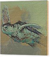 Sea Turtle Wood Print by Michael Creese