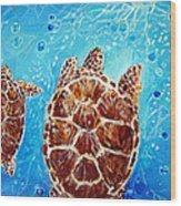 Sea Turtles Swimming Towards The Light Together Wood Print