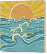 Sea Waves And Yellow Sun On Old Paper Wood Print