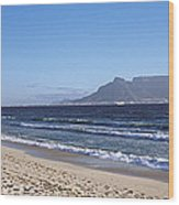 Sea With Table Mountain Wood Print