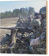 Seabees Fire The M2 .50-caliber Machine Wood Print