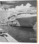 Seafair Art Venue Yacht Moored In Miami - Black And White Wood Print by Ian Monk