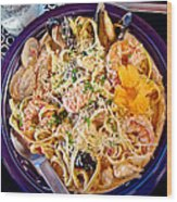 Seafood Fetticinni Alfredo At Cafe Cups Restaurant In Homer-ak   Wood Print
