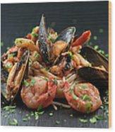 Seafood Pasta Wood Print