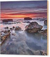 Seaford Rock Pool Wood Print by Mark Leader