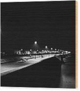 Seafront Promenade At Night Wood Print