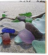 Seaglass And Seaweed Wood Print