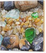 Seaglass Art Prints Coastal Beach Sea Glass Wood Print by Baslee Troutman