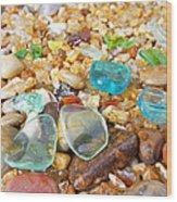 Seaglass Coastal Beach Rock Garden Agates Wood Print