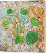 Seaglass Green Art Prints Agates Beach Garden Wood Print