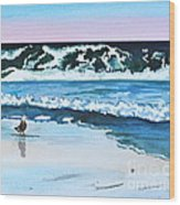Seagull In The Sand Wood Print