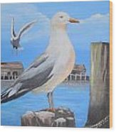 Seagull On Piling Wood Print
