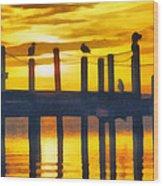 Seagull Sunset Wood Print