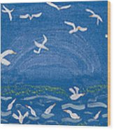 Seagulls Wood Print by Melissa Dawn