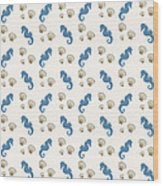 Seahorse And Shells Pattern Wood Print
