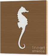 Seahorse In Brown And White Wood Print
