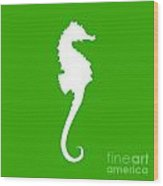 Seahorse In Green And White Wood Print