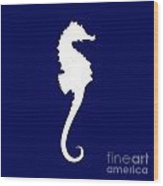 Seahorse In Navy And White Wood Print