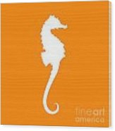 Seahorse In Orange And White Wood Print